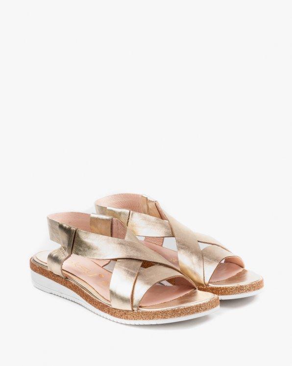 Złote sandały damskie skórzane 2312/966
