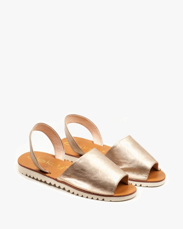 Złote sandały damskie skórzane 2249/C04