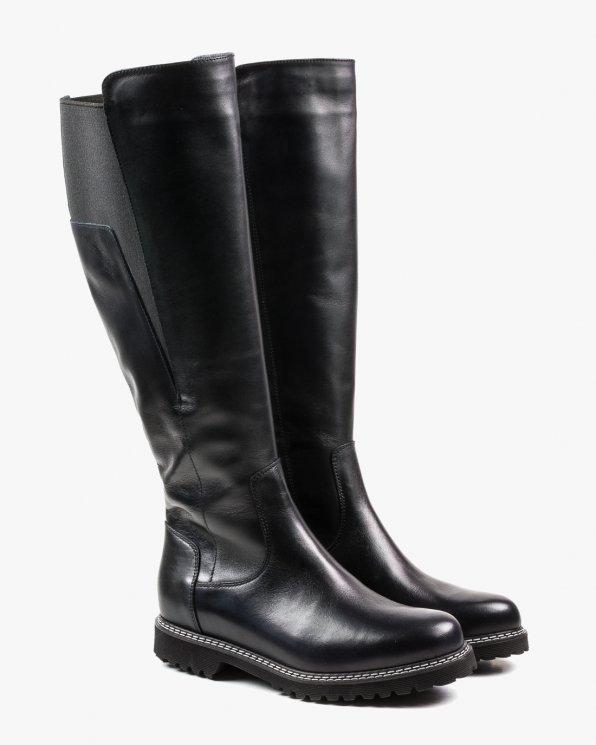 Czarne kozaki skórzane, cholewka XL 2673/A89
