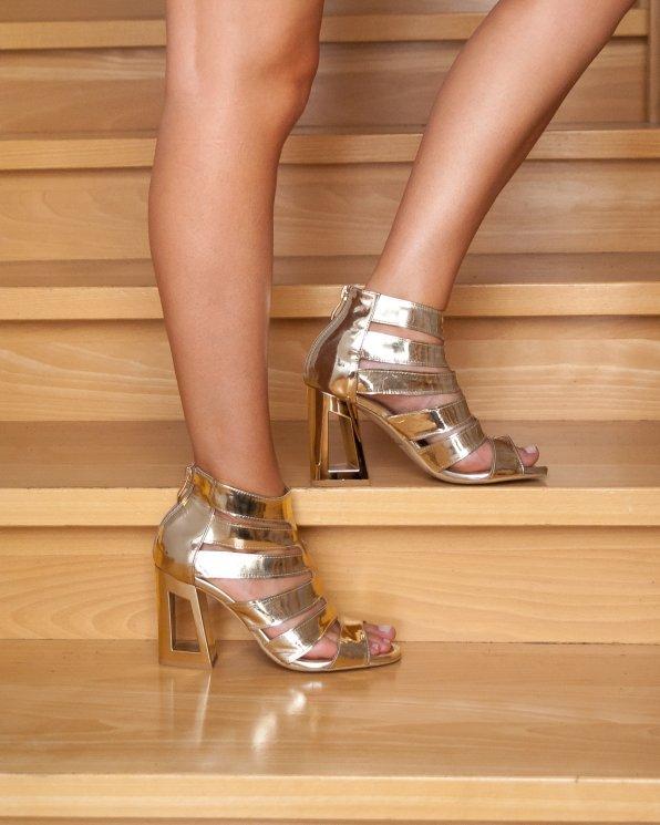 Złote sandały damskie skórzane 2433/A38