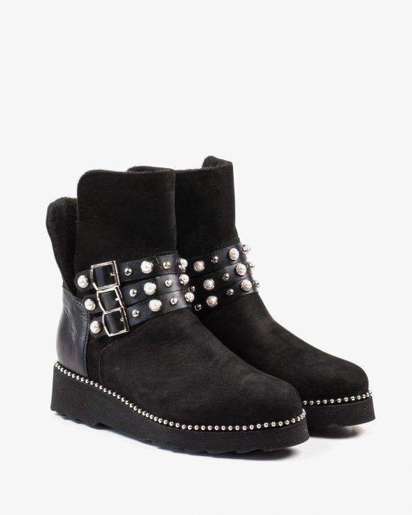 Czarne botki damskie skórzane 2533/B22/A89