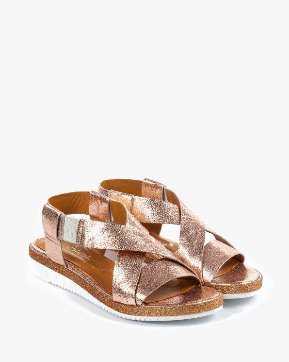 Złote sandały damskie skórzane 2312/D19