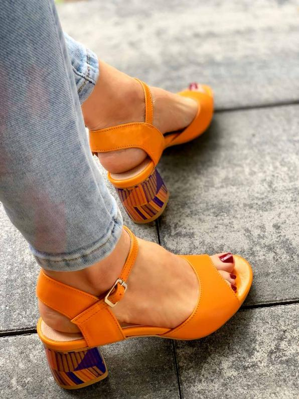 Pomarańczowe sandały damskie skórzana 2711/E32