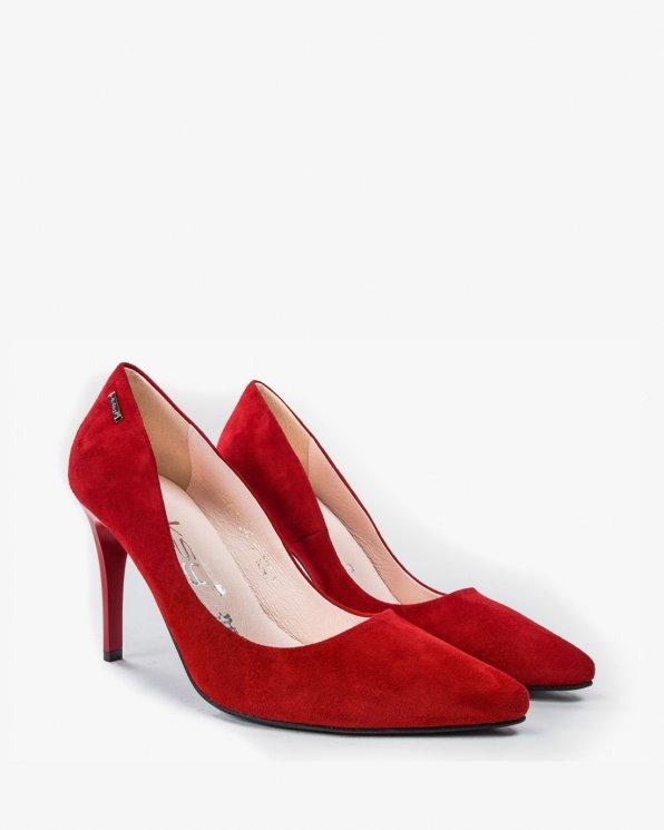 Czółenka czerwone damskie skórzane 1843/955
