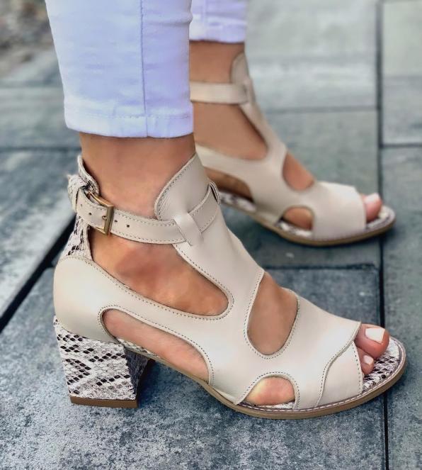 Beżowe sandały damskie skórzane 3325/F67/F66