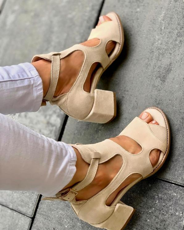 Beżowe sandały damskie skórzane 3325/G34