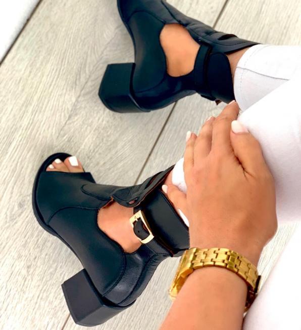 Czarne sandały damskie skórzane 3539/A89