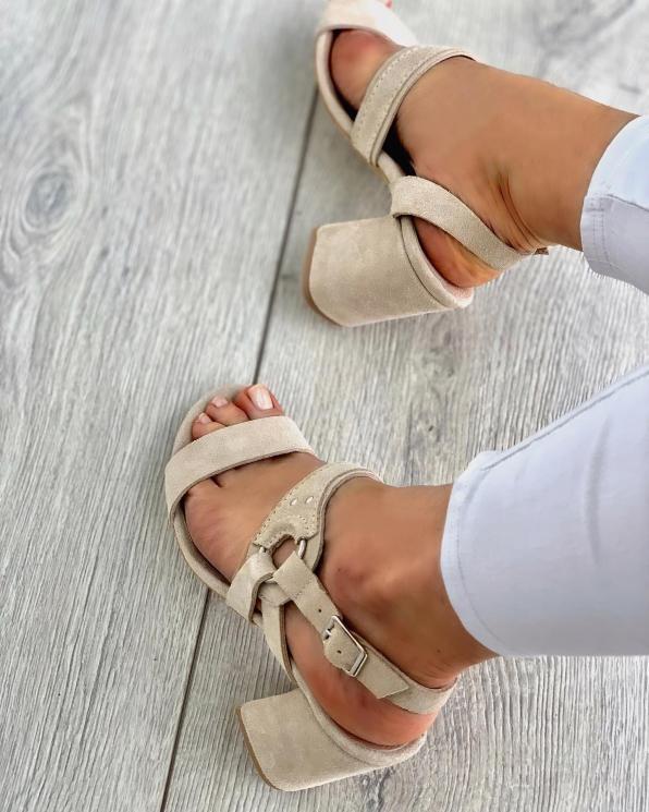 Beżowe sandały damskie skórzane 3510/G46