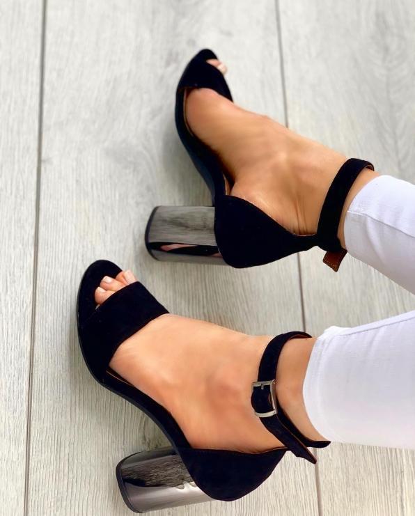 Czarne sandały damskie skórzane 3463/147