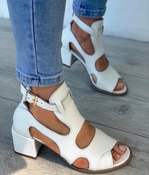 Białe sandały damskie skórzane 3325/G02
