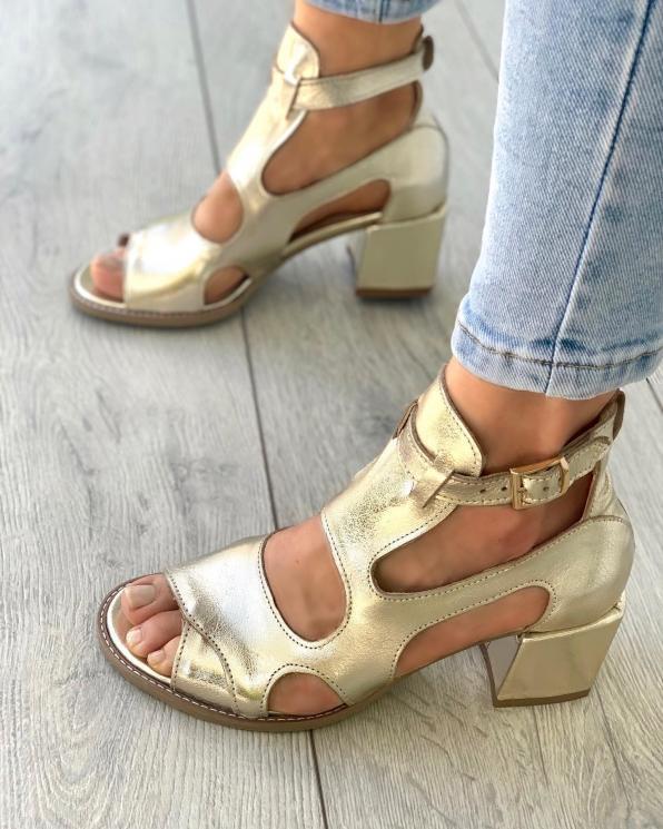 Złote sandały damskie skórzane 3325/F96