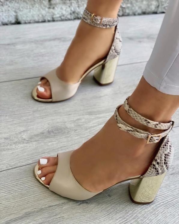 Beżowe sandały damskie skórzane  3464/F67/F66/A38