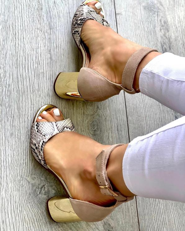 Beżowe sandały damskie skórzane  3504/F66/E99/A38