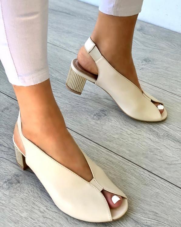 Beżowe sandały damskie skórzane 3071/G99/001