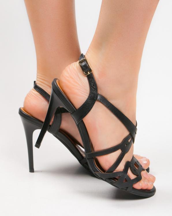 Czarne sandały skórzane damskie 2399/A89