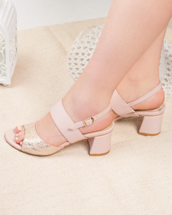 Różowe sandały damskie skórzane 2765/E63/E49