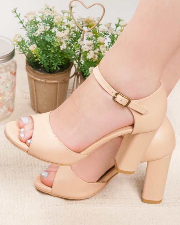 Beżowe sandały damskie skórzane 2295/E53