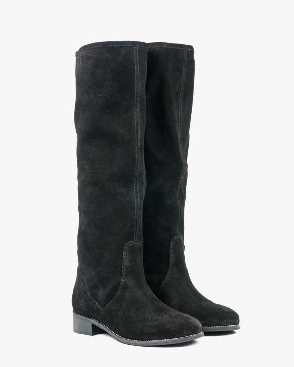 Czarne kozaki damskie skórzane 2921/E12