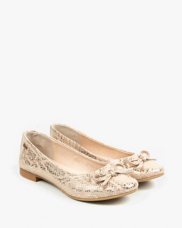 Złote baleriny damskie skórzane 1590/E63