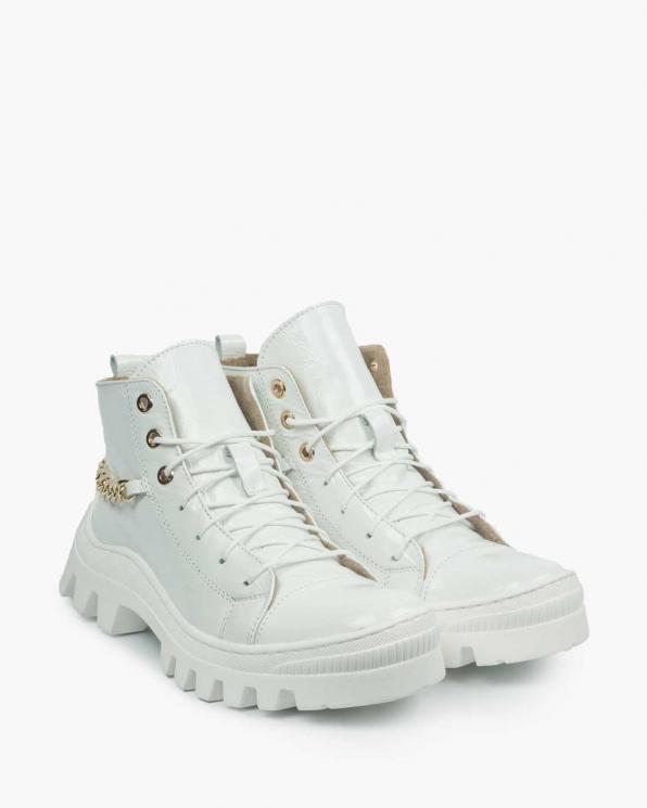 Białe trapery damskie skórzane 3635/H21