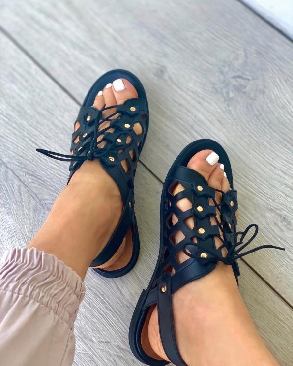 Czarne sandały damskie skórzane 3508/A89