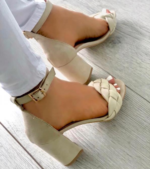 Beżowe sandały damskie skórzane 3556/G95