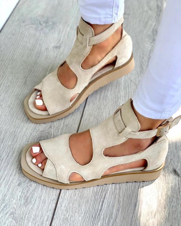 Beżowe sandały damskie skórzane 3524/G46