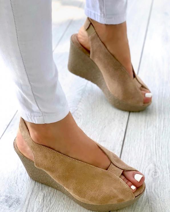 Beżowe sandały damskie skórzane 3499/F37