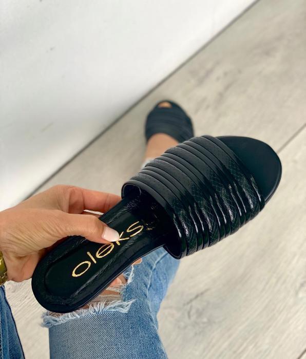 Czarne klapki damskie skórzane 3506/G84/A38