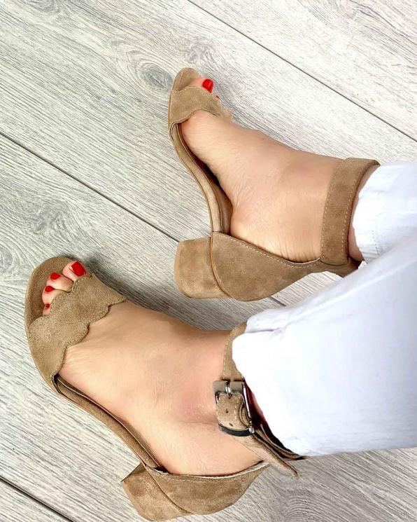 Brązowe sandały damskie skórzane 2696/F37