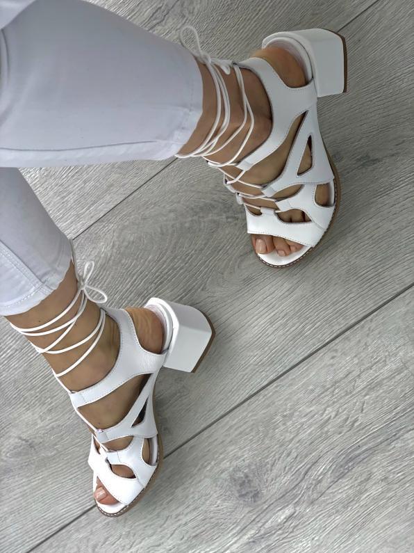 Białe sandały damskie skórzane 3511/534