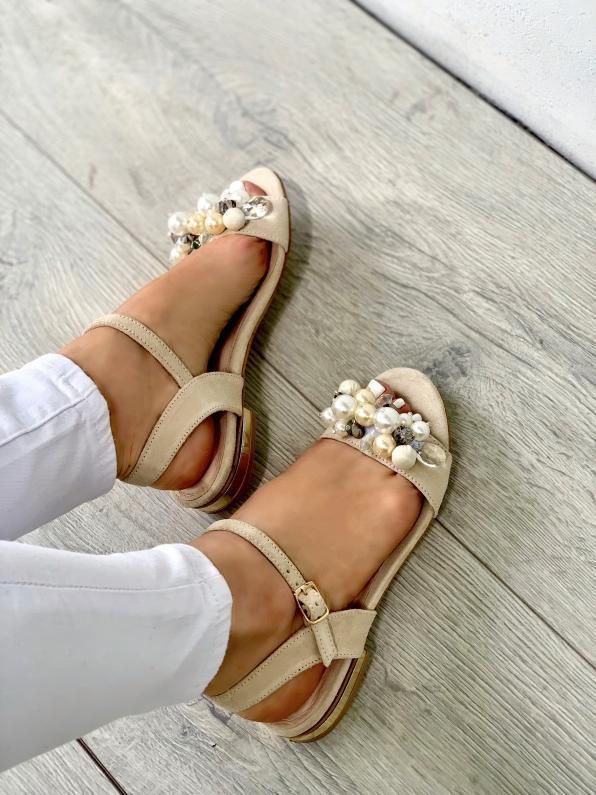 Beżowe sandały damskie skórzane 3545/G46