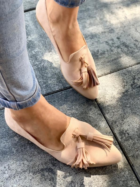 Beżowe baleriny damskie skózane 3138/E99