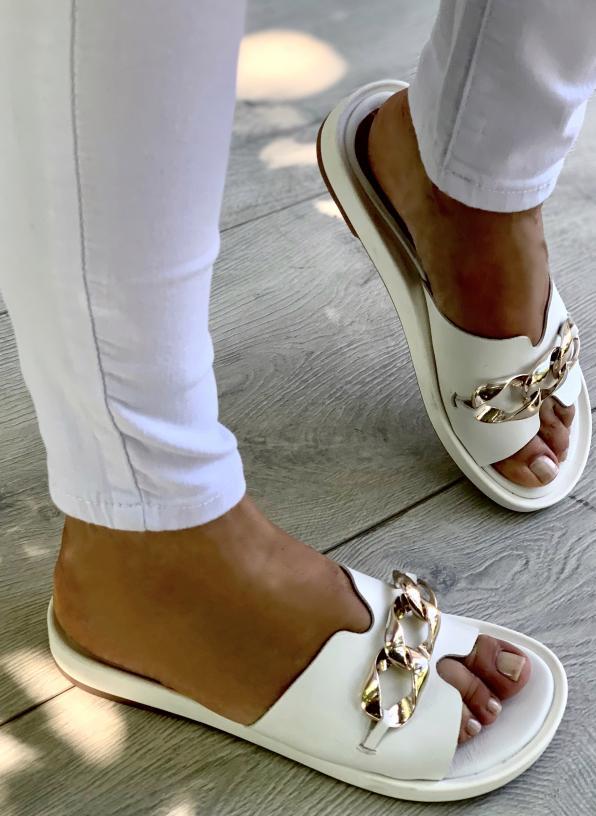 Białe klapki damskie skórzane 3518/534