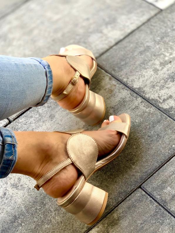 Złote sandały skórzane damskie 2292/C04