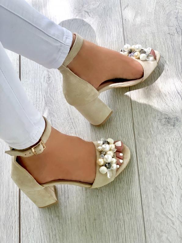 Beżowe sandały damskie skórzane 3546/G46