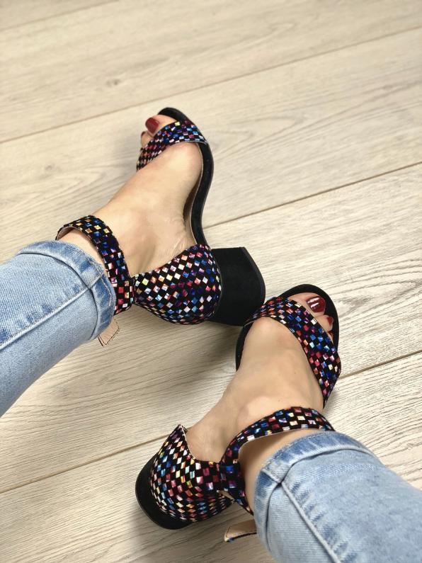 Czarne sandały damskie skórzane 2148/E43/147