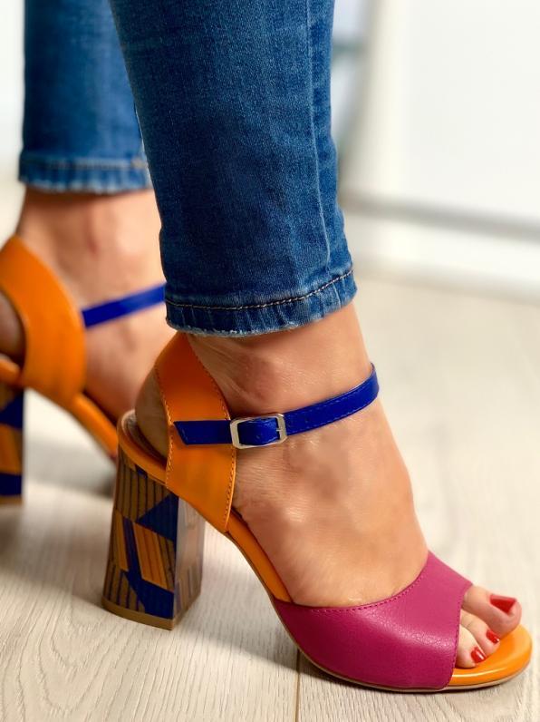 Wielokolorowe sandały damskie skórzane 2692/E33/E34/E32