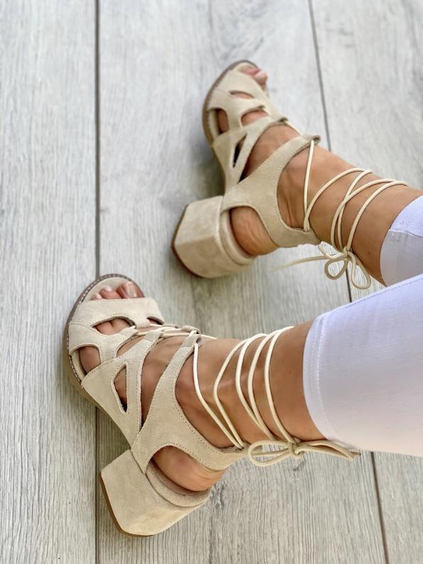 Beżowe sandały damskie skórzane  3511/G34