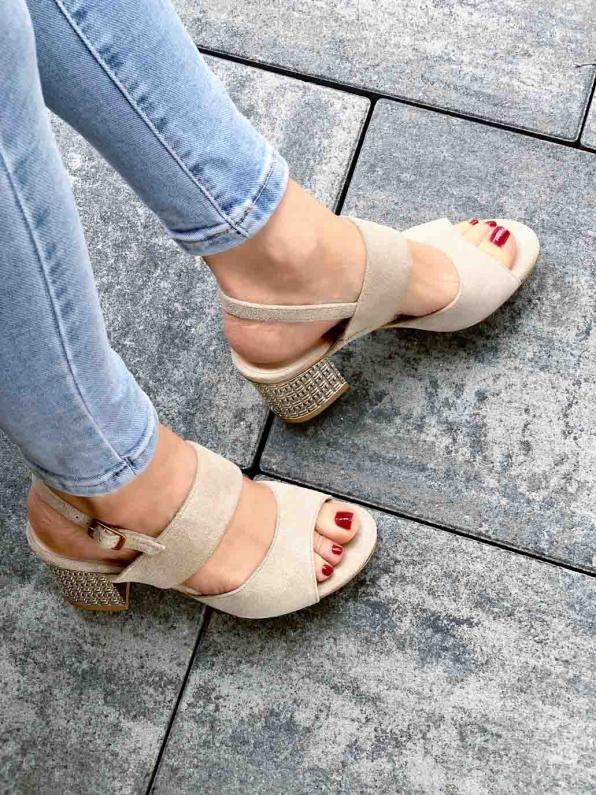 Szare sandały damskie skórzane 2741/E26