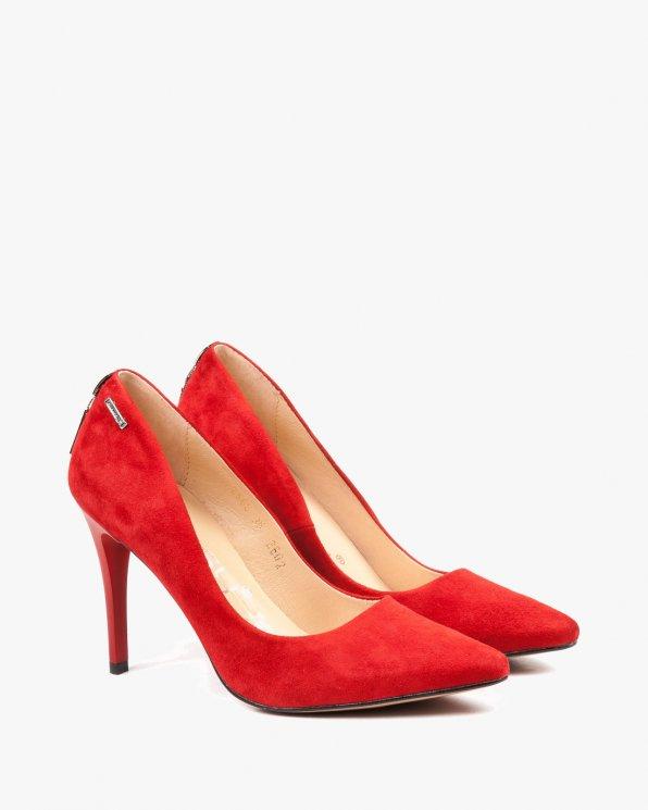 Czerwone czółenka damskie skórzane 2568/955