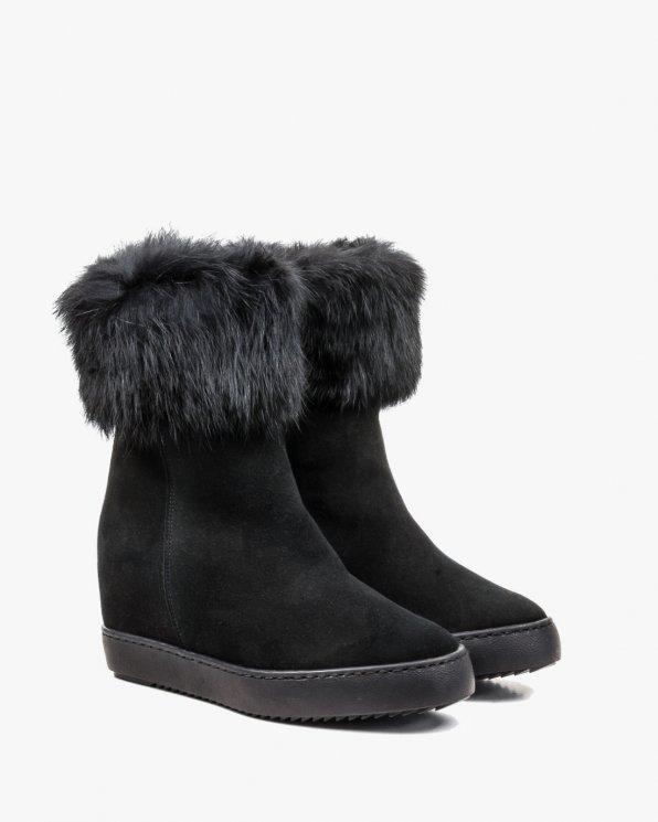 Czarne botki zimowe damskie skórzane 2615/147