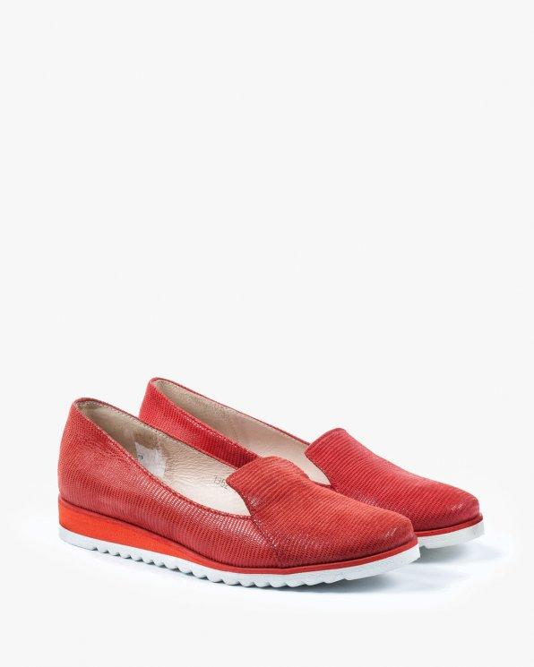 Czerwone półbuty damskie skórzane 1962/A57