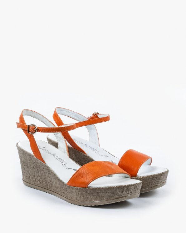 Pomarańczowe sandały damskie skórzane 2097/766