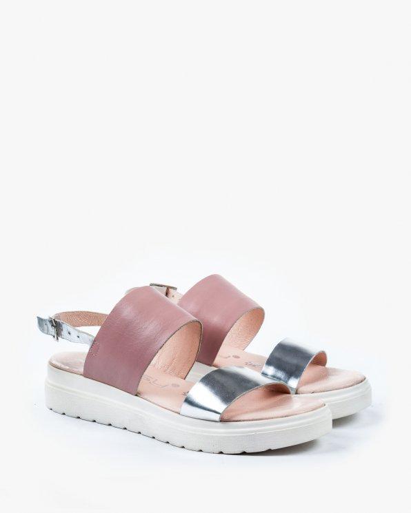 Różowo srebrne sandały damskie skórzane 2230/120/B60