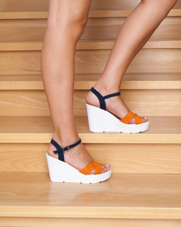 Wielokolorowe sandały damskie skórzane 2272/B84/859