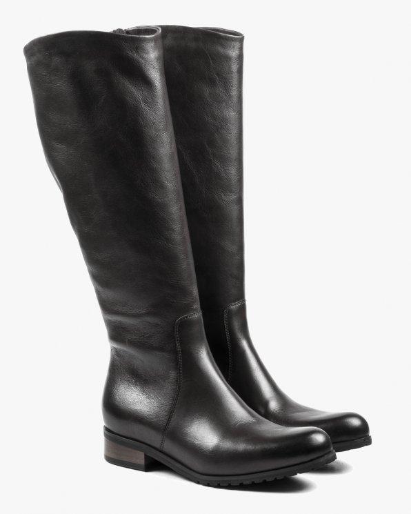 Czarne kozaki damskie skórzane 2668/A89