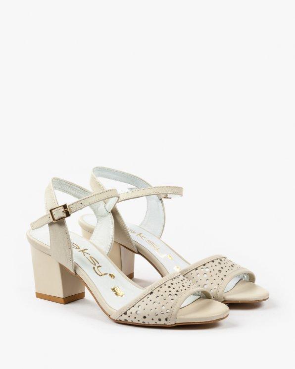 Beżowe sandały damskie skórzane 1968/866