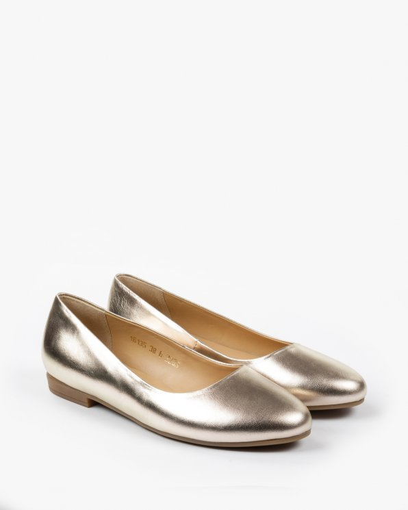Złote baletki damskie skórzane 2283/D37