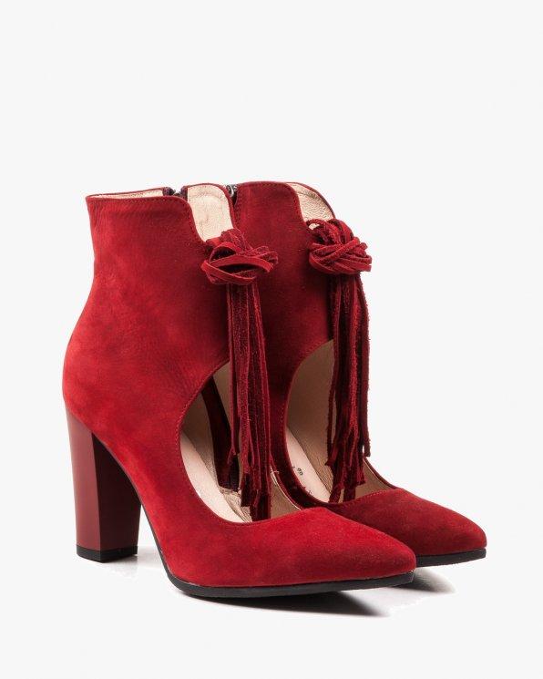 Czerwone botki damskie skórzane 2432/D58